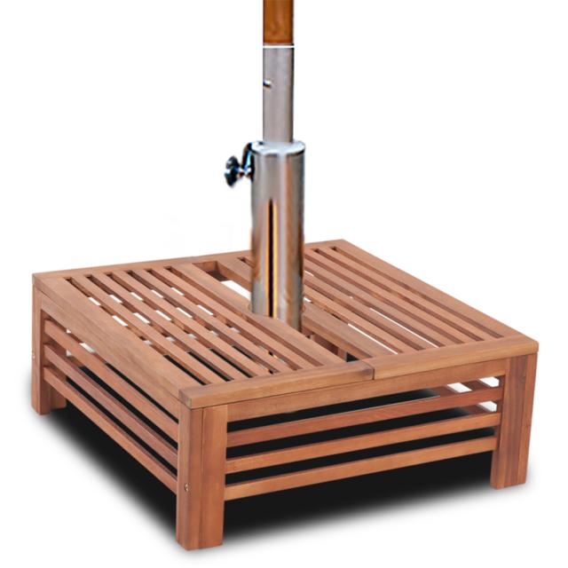 Rocambolesk Superbe Table d'appoint en bois pour pied de parasol Neuf