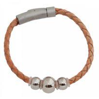Di-Angelo - Bracelet Cuir Fantaisie Beige