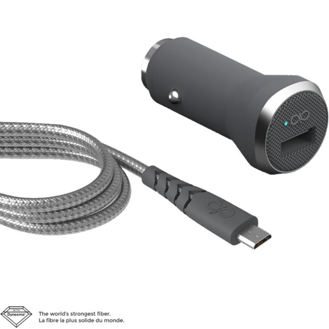 Chargeur Voiture Fast & Smart 1 port Usb 2.4A + câble renforcé Micro Usb 1.2m Charge Rapide et intelligente