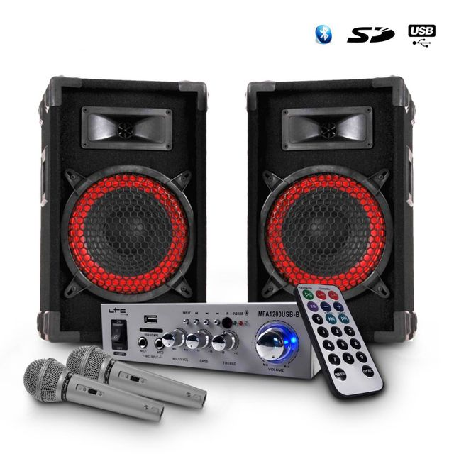 Ibiza Sound Karaoke Ampli silver Usb/BT/MP3/BLUETOOTH 100W + 2 Enceintes Dj 8