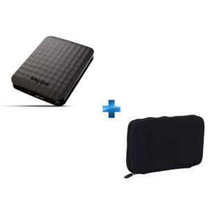 MAXTOR - Disque Dur Externe 2 To USB 3.0 Noir + Housse noire