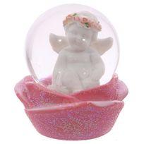 Sans Marque - Boule à neige - Chérubin souriant et rose 6 cm
