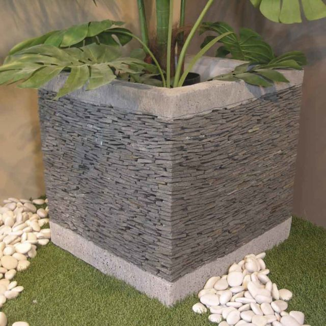 Pot bac jardinière carré cube ardoise 50cm jardin terrasse pierre naturelle