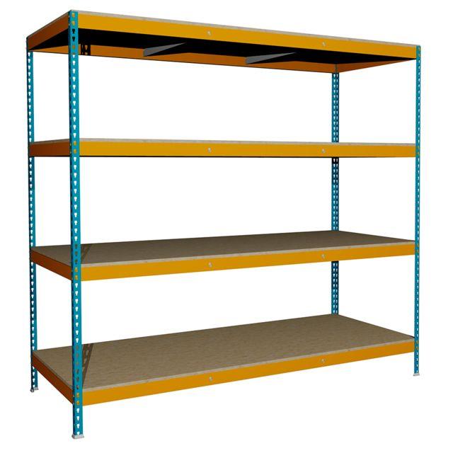 Jomasi Étagère métallique modulaire. Modèle J600. Dim : H 2000 x L 2100 x P 900. 4 Niveaux. Bleu/Orange. Livré démonté