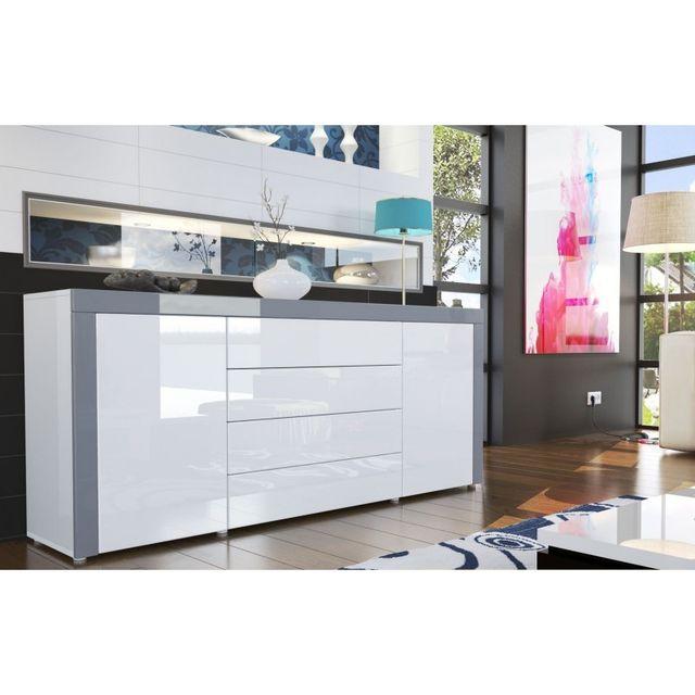 Mpc Buffet design laqué blanc /blanc/ gris