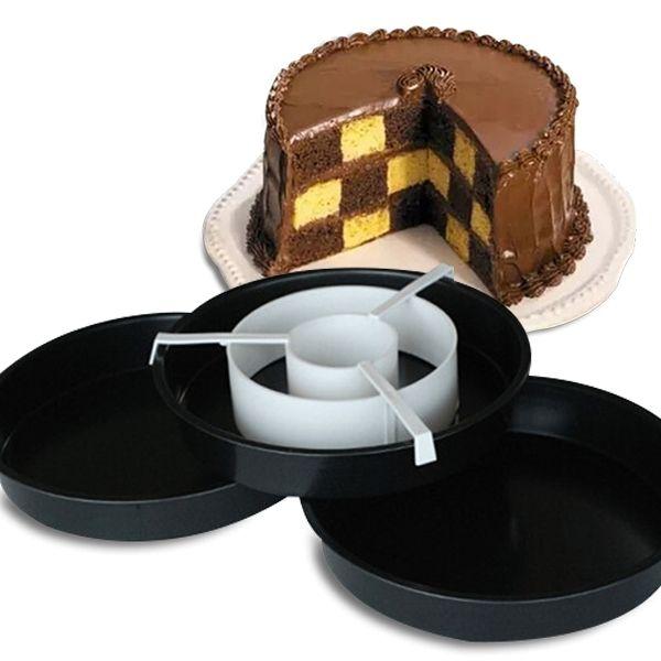 Totalcadeau Kit moules à gâteau en damier à 3 étages