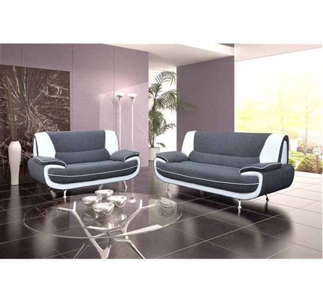 CHLOE DESIGN Canapé design 3+2 bregga tissu - gris et blanc