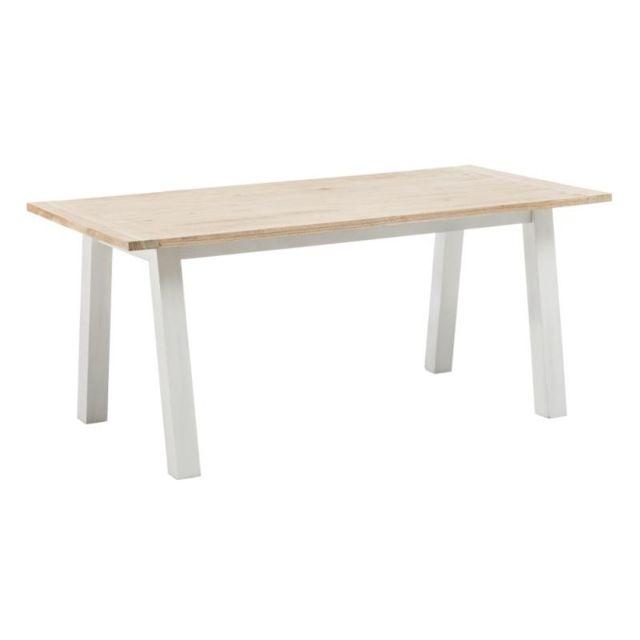 Tousmesmeubles Table de repas rectangulaire Bois/Blanc - Louna