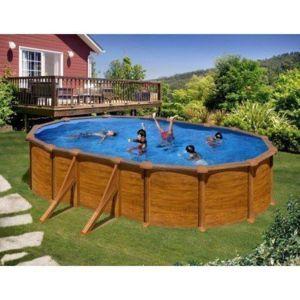gre pools kit piscine hors sol mauritius ovale en acier aspect bois avec renforts apparents - Piscine Hors Sol Metal Aspect Bois