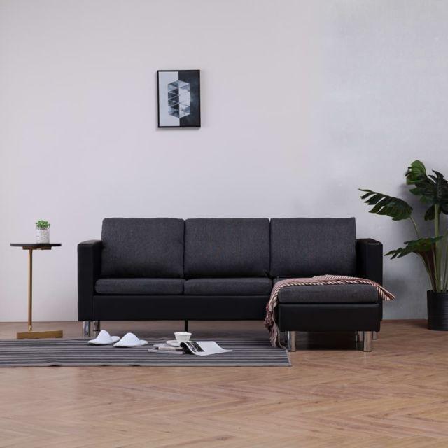 Magnifique Meubles serie Kaboul Canapé à 3 places avec coussins Noir Similicuir