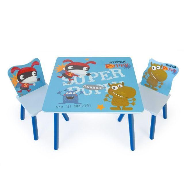 decoshop26 table avec 2 chaises pour enfant motif. Black Bedroom Furniture Sets. Home Design Ideas