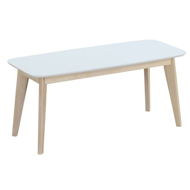 Miliboo - Banc design 100 cm blanc et bois Leena