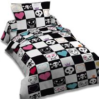 """Dourev - Housse de couette 140x200 """"Skully in bed"""" + 1 taie"""