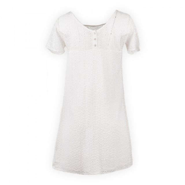Ddp Robe Blanche Brodee Femme Pas Cher Achat Vente Robes Rueducommerce