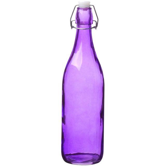 Promobo Bouteille Carafe en Verre Boisson Fraiche Maison Fluo Violet 1L