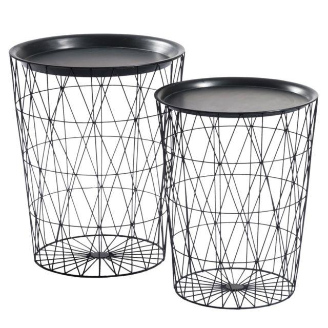 Tousmesmeubles Duo de Tables d'appoint Noir - Logy - L 50 x l 50 x H 62