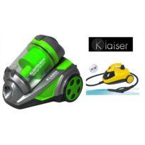 Klaiser - Pack Aspirateur Sans Sac Multi Cyclone Alligator Xtreme Force-Pure Air + Nettoyeur vapeur 1500W Haute Pression 4,5 Bar