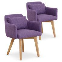 MENZZO Lot de 2 fauteuils scandinaves Gybson Tissu Violet