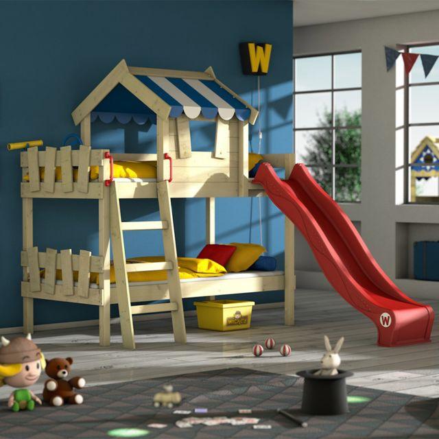 WICKEY Lit superposé CrAzY Circus Lit en bois pour enfants avec toboggan - bleu et rouge