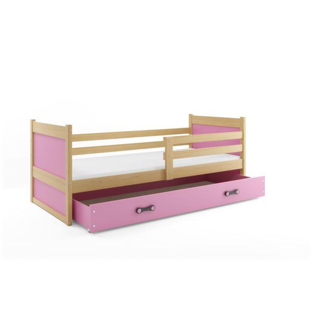 Interbeds Lit enfant rico 190x80 avec matelas sommier et tiroir en pin naturel+rose