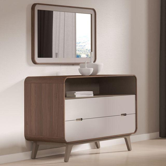 Tousmesmeubles Commode 2 tiroirs 1 niche + miroir - Fifty