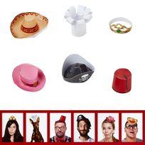 Totalcadeau - Coffret de 6 mini chapeaux marrants Photobooth drole
