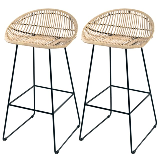 Tabouret de bar Lotus en rotin 77 cm lot de 2