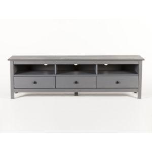 marque generique meuble tv bas en bois massif 3 tiroirs longueur 158cm berna gris pas cher. Black Bedroom Furniture Sets. Home Design Ideas