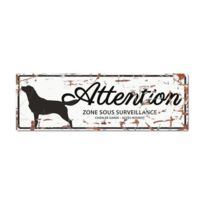 D&D - Plaque Attention Chien Retriever - Blanc