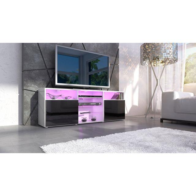 Mpc Meuble tv design blanc et noir façade laquée sans led
