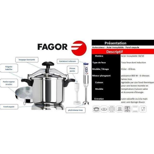 Fagor - Autocuiseur 8L Tous feux dont induction + Mixeur plongeant