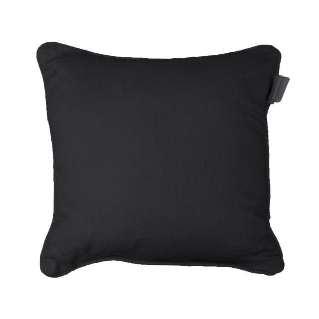 Coton D'INTERIEUR Cdaffaires Coussin passepoil 60 x 60 cm coton uni panama Noir