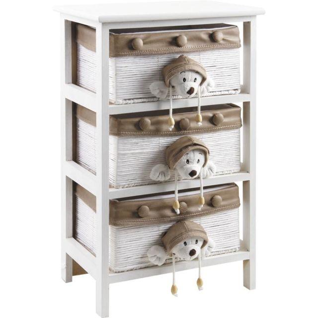 AUBRY GASPARD Commode enfant en bois blanc 3 tiroirs