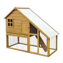 HOMCOM - Cage a lapin en bois de grande taille zingue avec rampe 140x65x120 cm