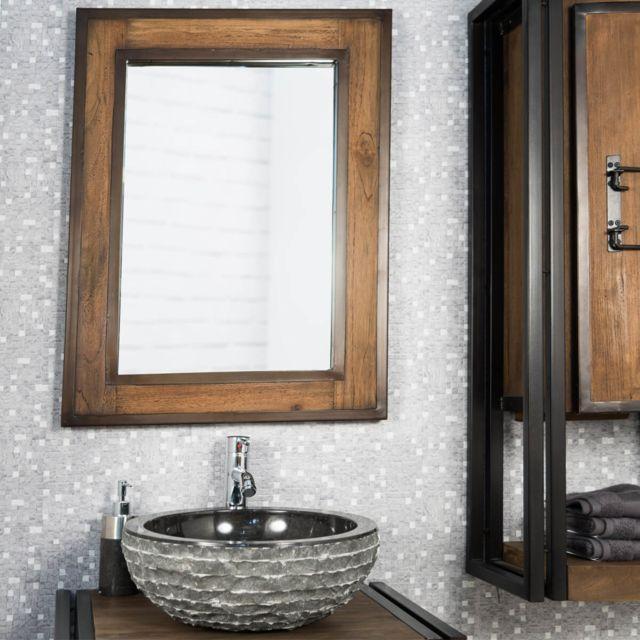 Wanda Collection Miroir de salle de bain élégance bois métal 60x80