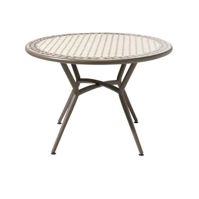 CARREFOUR   Table Ronde De Jardin Mosaïque Ronde Noir