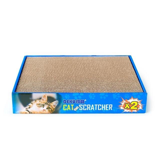 Wewoo Panier Coussin 2 en 1 carrée à plat carton ondulé forme de chat pour le