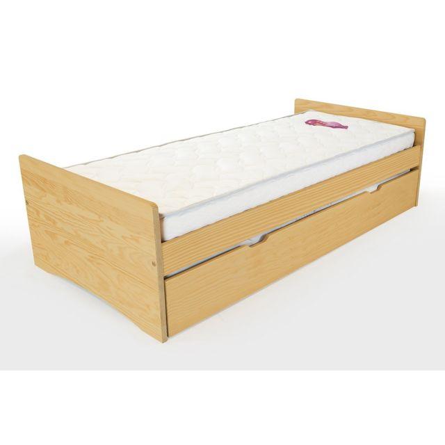 abc meubles lit gigogne abc pin massif 80x190 miel 80cm x 190cm pas cher achat vente lit. Black Bedroom Furniture Sets. Home Design Ideas