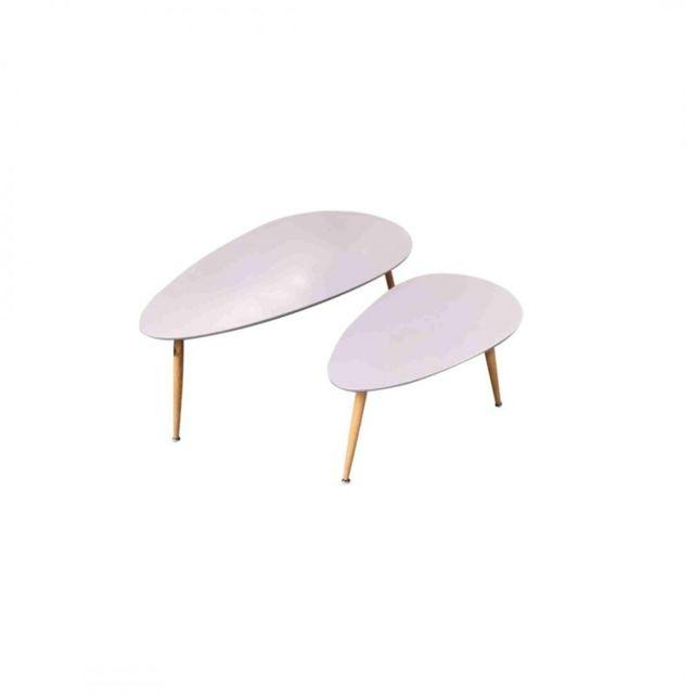 Zons Fly Lot de 2 tables basses Gigognes grises Au Style Scandinave