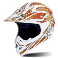 Casque Moto Cross N45 Predator Blanc Orange - taille: M