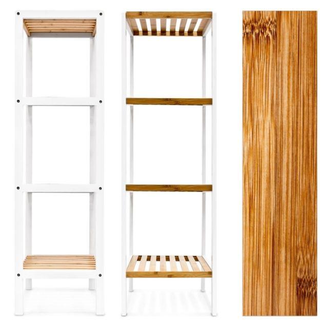 Helloshop26 - Étagère de salle de bain en bambou avec 4 Niveaux 112 cm 3213058 Noir