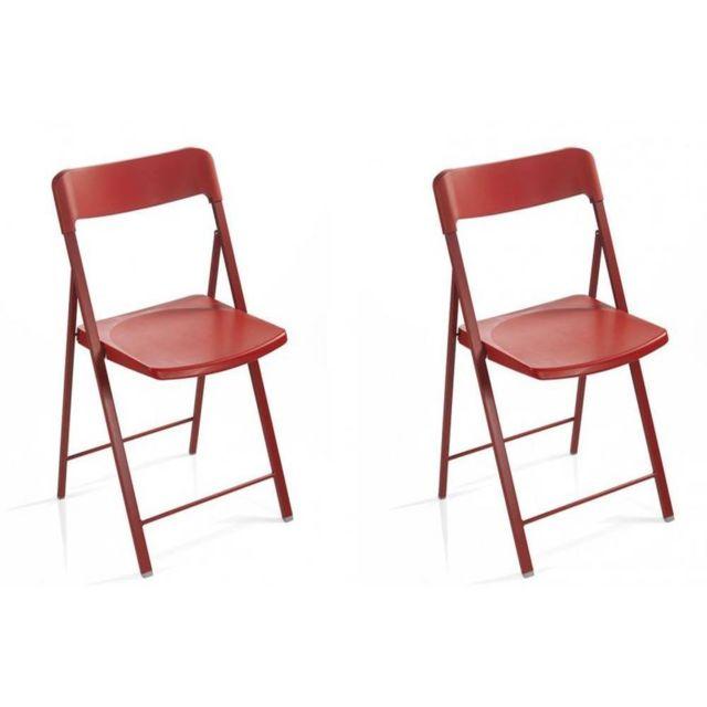 inside 75 lot de 2 chaises pliantes kully en plastique rouge pas cher achat vente chaises. Black Bedroom Furniture Sets. Home Design Ideas