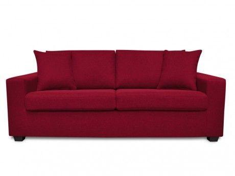 VENTE-UNIQUE Canapé 3 places en tissu YUDO - Rouge