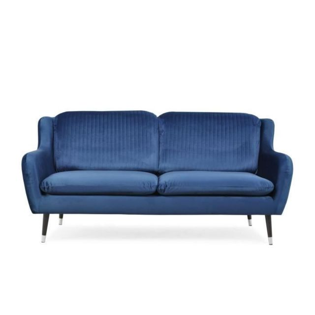 CANAPE - SOFA - DIVAN CELIAN Canapé droit 3 places en tissu Bleu nuit - L 192 x P 87 x H 92 cm