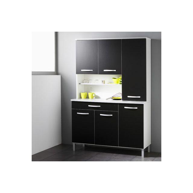 Buffet de cuisine 6 portes 120x44x181cm coloris noir