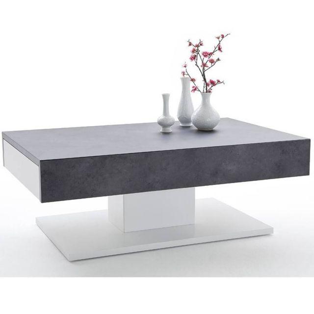 inside 75 table basse design chani effet bton 2 tiroirs blanc mat