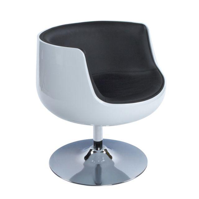 Fauteuil design 60x60x70cm HERROW - blanc et noir