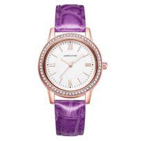 À Alliage La Quartz Montre Bracelet En Pu Avec Mode Et Boîtier Violet Femme Cuir hsrtQdCx