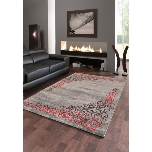 Tapis de salon contemporain, design oriental - New Florida - Gris et rouge  - 80 X 150 cm