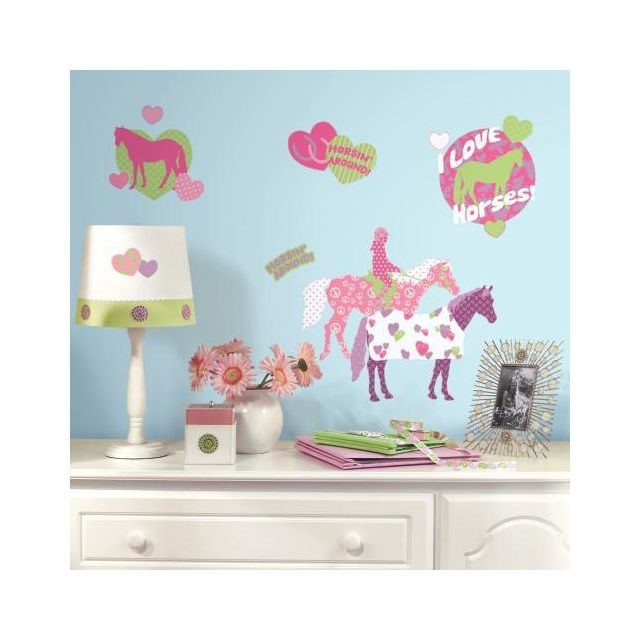 Mon Beau Tapis Stickers Chevaux Peace And Love Repositionnables 44 stickers - jusqu'à 23cm
